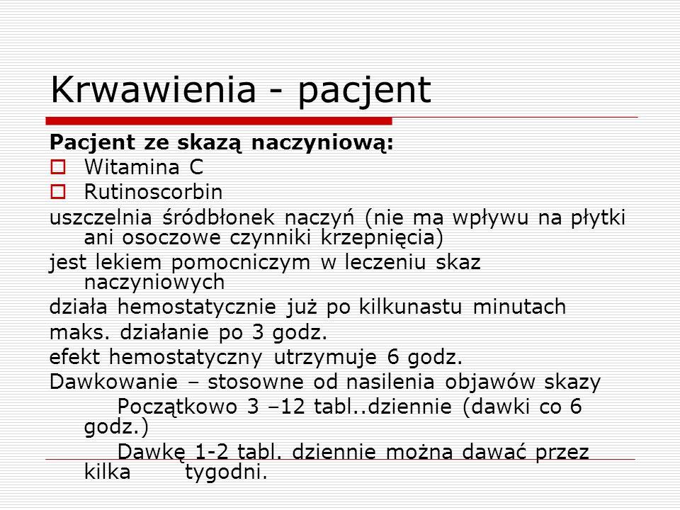 Krwawienia - pacjent Pacjent ze skazą naczyniową: Witamina C Rutinoscorbin uszczelnia śródbłonek naczyń (nie ma wpływu na płytki ani osoczowe czynniki