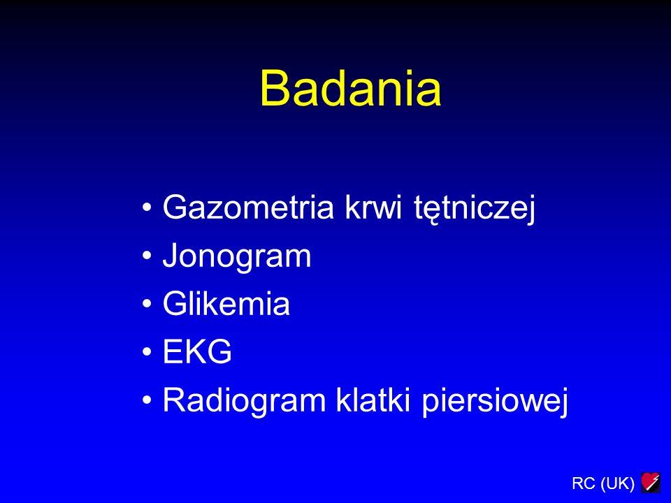 RC (UK) Badania Gazometria krwi tętniczej Jonogram Glikemia EKG Radiogram klatki piersiowej