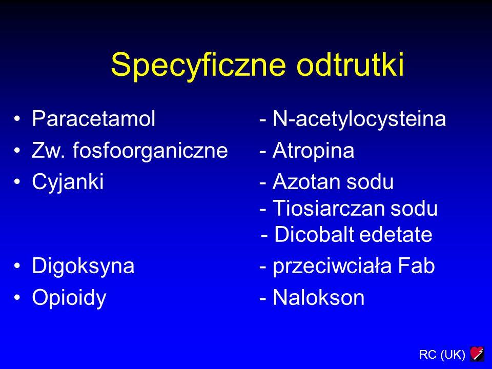 RC (UK) Specyficzne odtrutki Paracetamol- N-acetylocysteina Zw. fosfoorganiczne- Atropina Cyjanki- Azotan sodu - Tiosiarczan sodu - Dicobalt edetate D