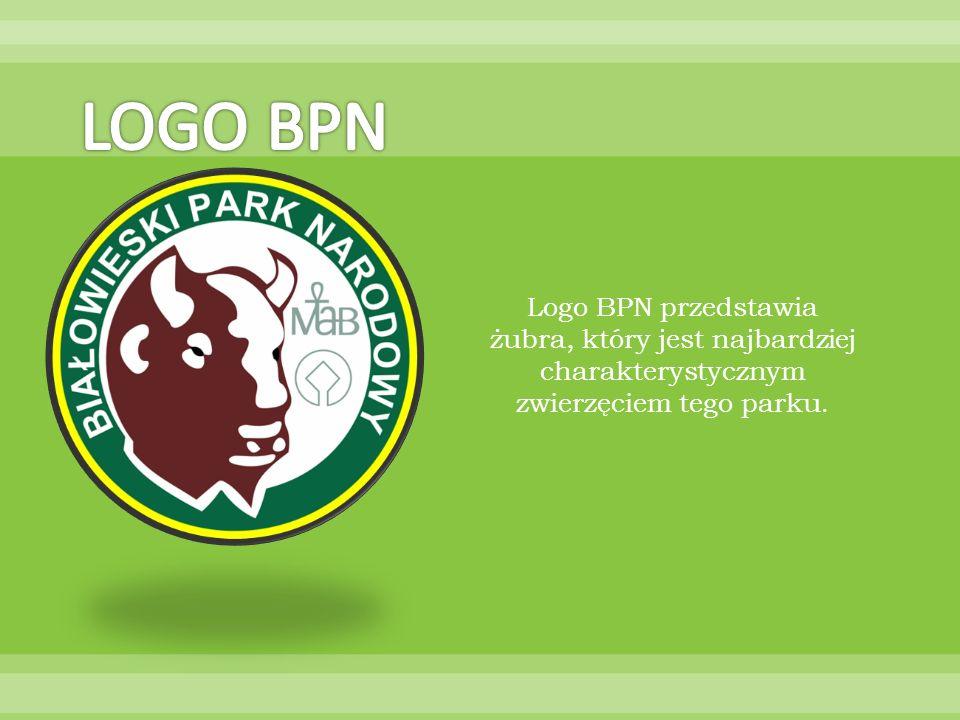 Logo BPN przedstawia żubra, który jest najbardziej charakterystycznym zwierzęciem tego parku.