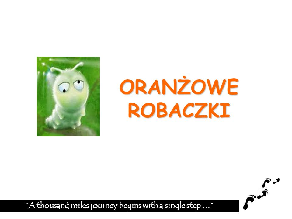 ORANŻOWE ROBACZKI A thousand miles journey begins with a single step …