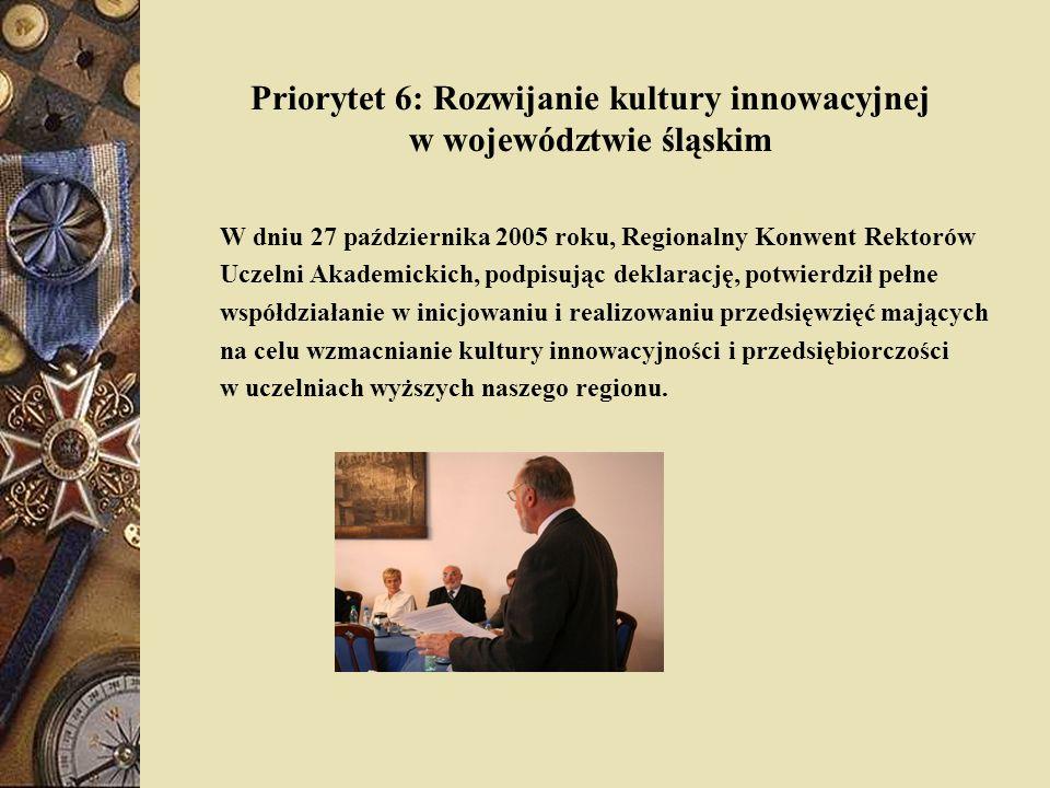 Priorytet 6: Rozwijanie kultury innowacyjnej w województwie śląskim W dniu 27 października 2005 roku, Regionalny Konwent Rektorów Uczelni Akademickich