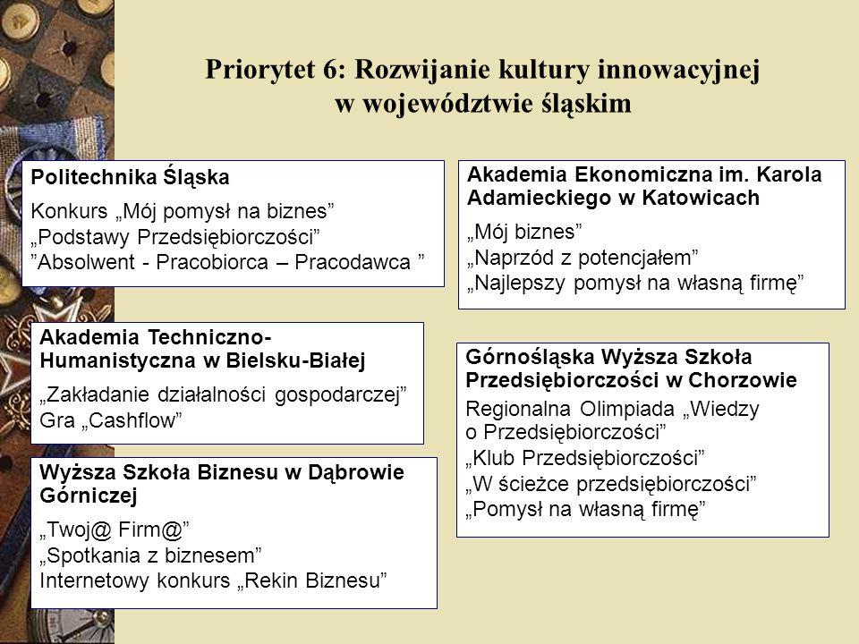 Priorytet 6: Rozwijanie kultury innowacyjnej w województwie śląskim Akademia Ekonomiczna im. Karola Adamieckiego w Katowicach Mój biznes Naprzód z pot