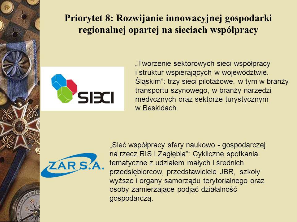 Priorytet 8: Rozwijanie innowacyjnej gospodarki regionalnej opartej na sieciach współpracy Sieć współpracy sfery naukowo - gospodarczej na rzecz RIS i