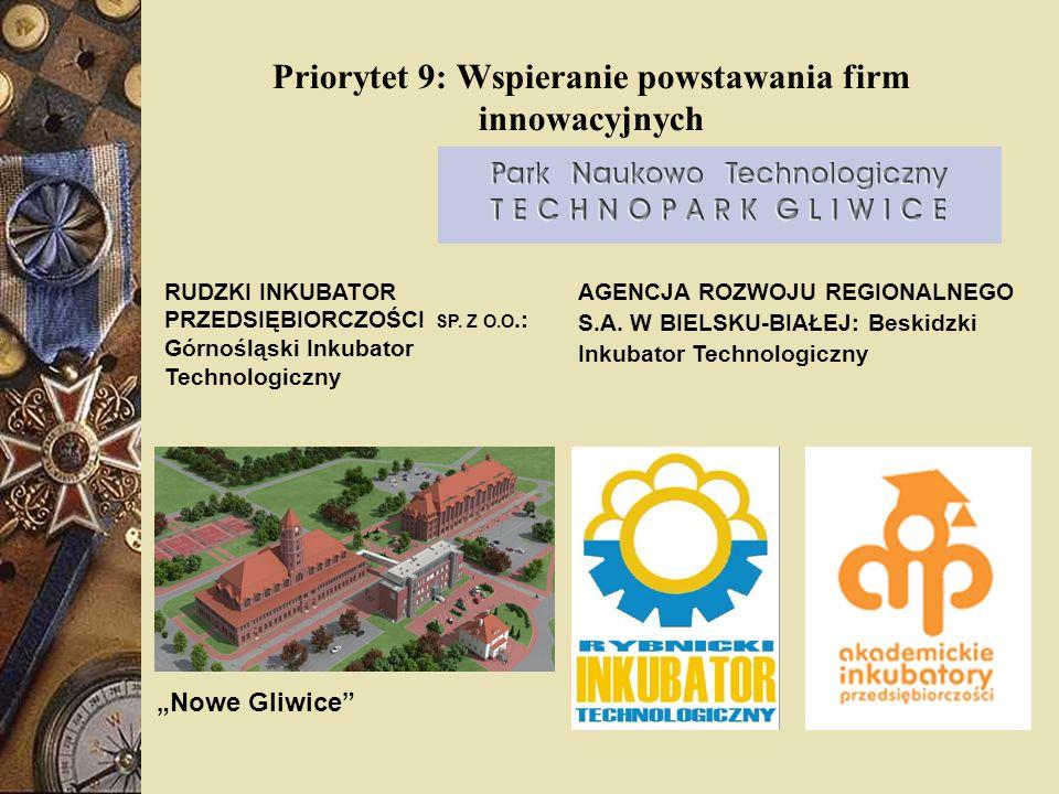 Priorytet 9: Wspieranie powstawania firm innowacyjnych RUDZKI INKUBATOR PRZEDSIĘBIORCZOŚCI SP. Z O.O.: Górnośląski Inkubator Technologiczny Nowe Gliwi