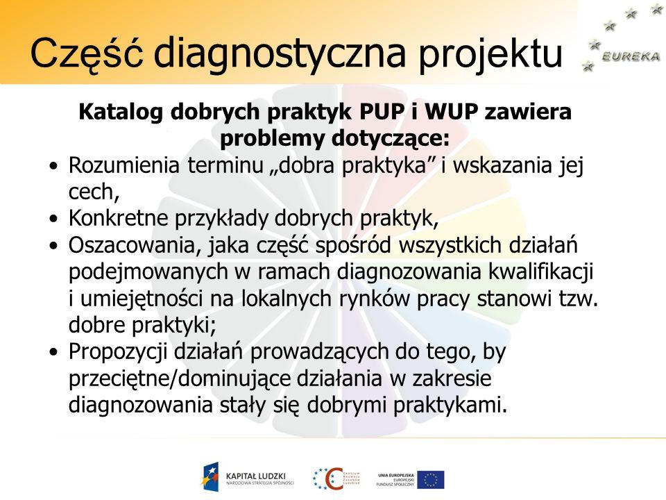 Część diagnostyczna projektu Katalog dobrych praktyk PUP i WUP zawiera problemy dotyczące: Rozumienia terminu dobra praktyka i wskazania jej cech, Kon