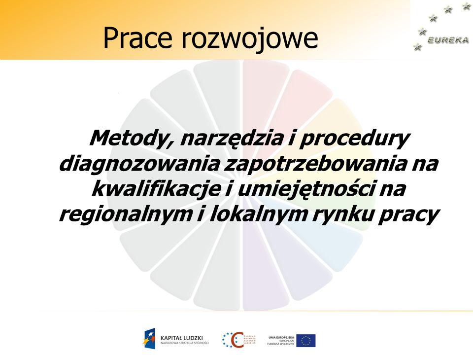Prace rozwojowe Metody, narzędzia i procedury diagnozowania zapotrzebowania na kwalifikacje i umiejętności na regionalnym i lokalnym rynku pracy
