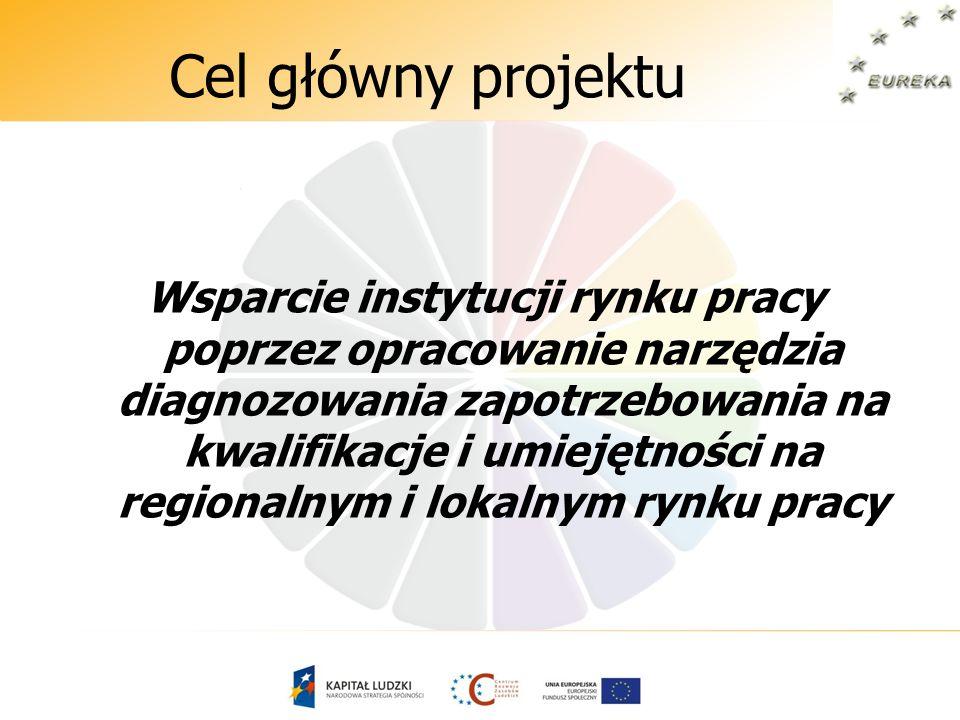 Cel główny projektu Wsparcie instytucji rynku pracy poprzez opracowanie narzędzia diagnozowania zapotrzebowania na kwalifikacje i umiejętności na regi