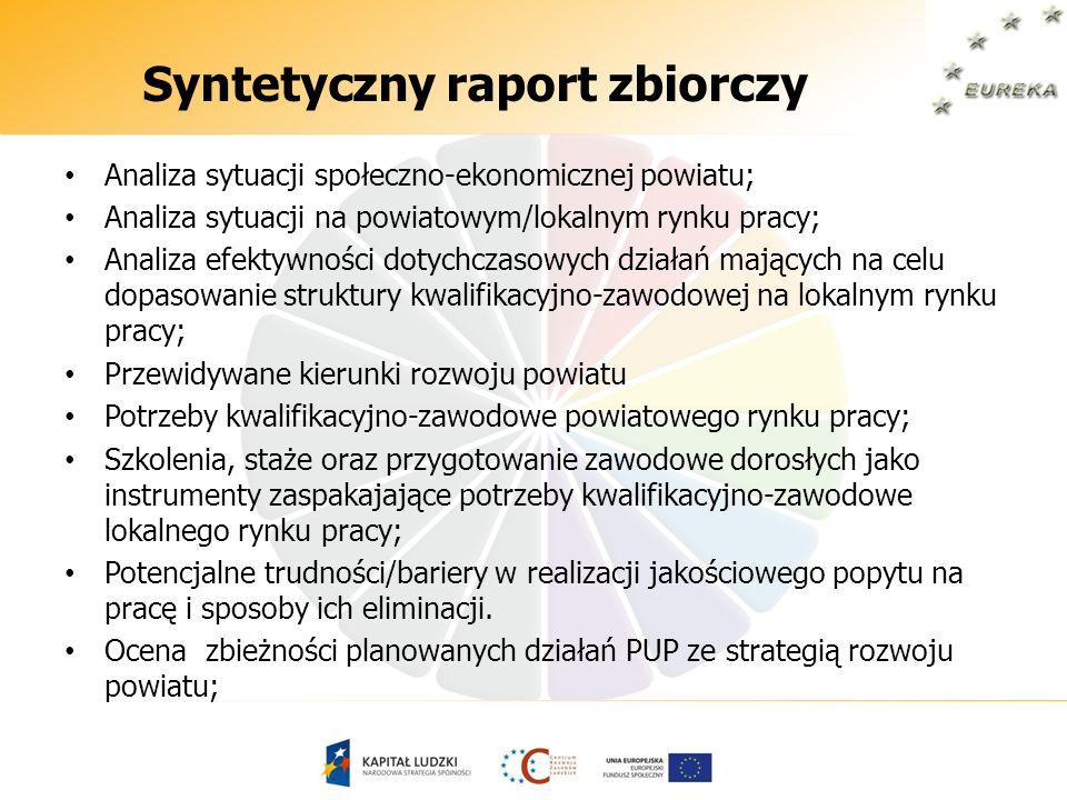 Syntetyczny raport zbiorczy Analiza sytuacji społeczno-ekonomicznej powiatu; Analiza sytuacji na powiatowym/lokalnym rynku pracy; Analiza efektywności