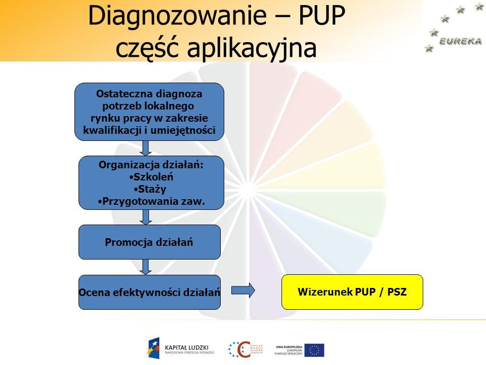 Diagnozowanie – PUP część aplikacyjna Organizacja działań: Szkoleń Staży Przygotowania zaw. Ostateczna diagnoza potrzeb lokalnego rynku pracy w zakres