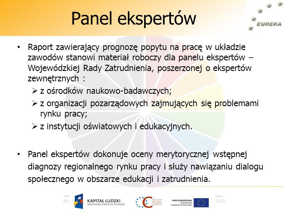Panel ekspertów Raport zawierający prognozę popytu na pracę w układzie zawodów stanowi materiał roboczy dla panelu ekspertów – Wojewódzkiej Rady Zatru