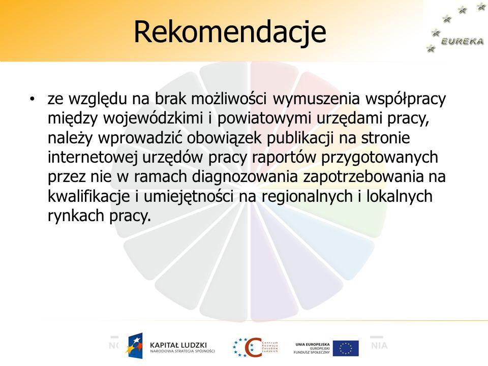 Rekomendacje ze względu na brak możliwości wymuszenia współpracy między wojewódzkimi i powiatowymi urzędami pracy, należy wprowadzić obowiązek publika