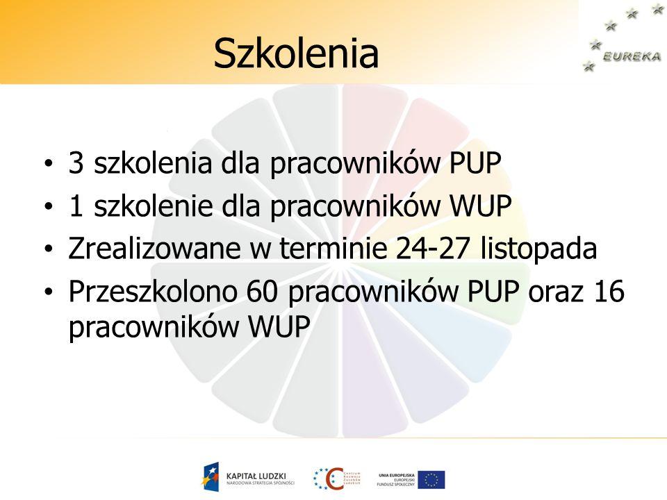 Szkolenia 3 szkolenia dla pracowników PUP 1 szkolenie dla pracowników WUP Zrealizowane w terminie 24-27 listopada Przeszkolono 60 pracowników PUP oraz