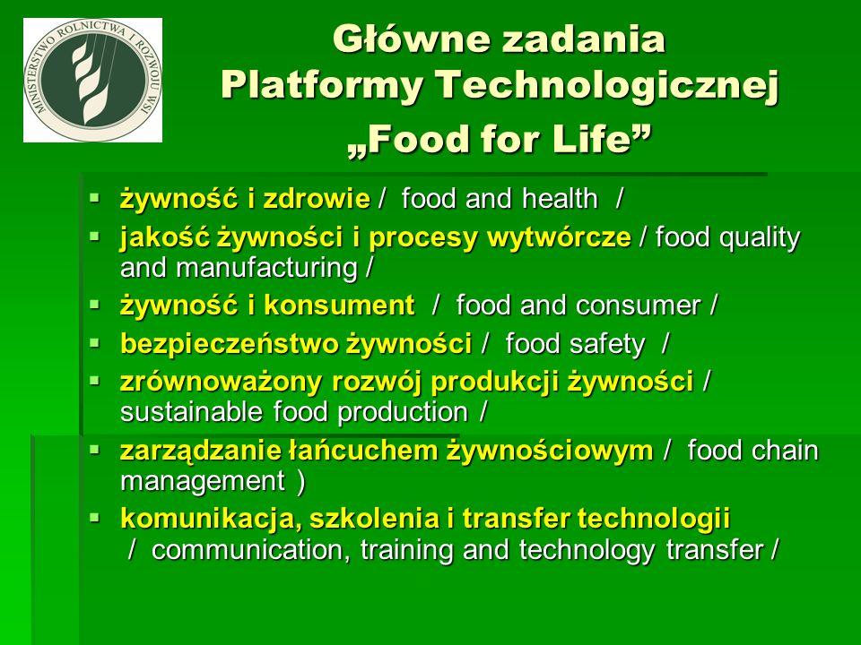 Główne zadania Platformy Technologicznej Food for Life żywność i zdrowie / food and health / żywność i zdrowie / food and health / jakość żywności i p