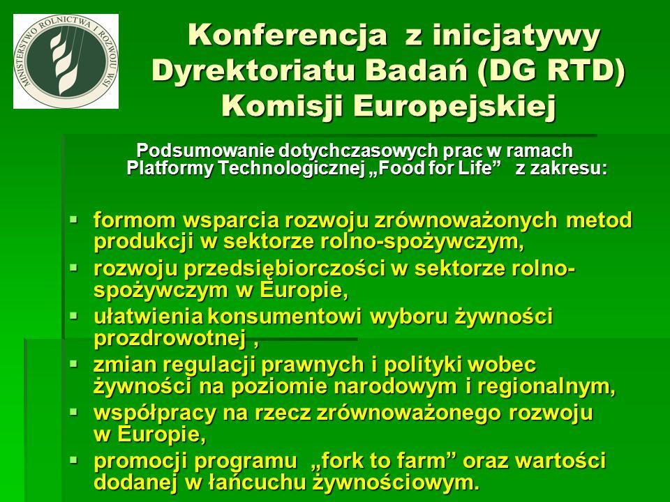 Konferencja z inicjatywy Dyrektoriatu Badań (DG RTD) Komisji Europejskiej Konferencja z inicjatywy Dyrektoriatu Badań (DG RTD) Komisji Europejskiej Po