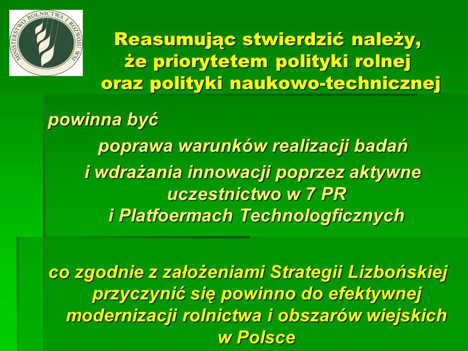Reasumując stwierdzić należy, że priorytetem polityki rolnej oraz polityki naukowo-technicznej powinna być poprawa warunków realizacji badań poprawa w