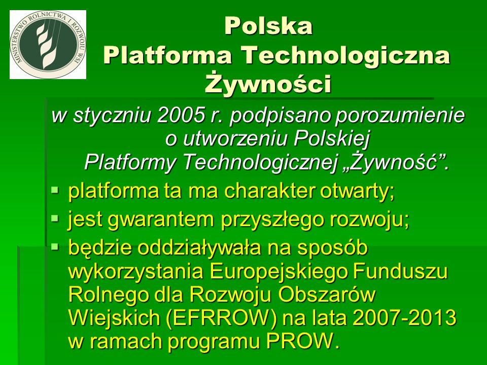 Polska Platforma Technologiczna Żywności Polska Platforma Technologiczna Żywności w styczniu 2005 r. podpisano porozumienie o utworzeniu Polskiej Plat
