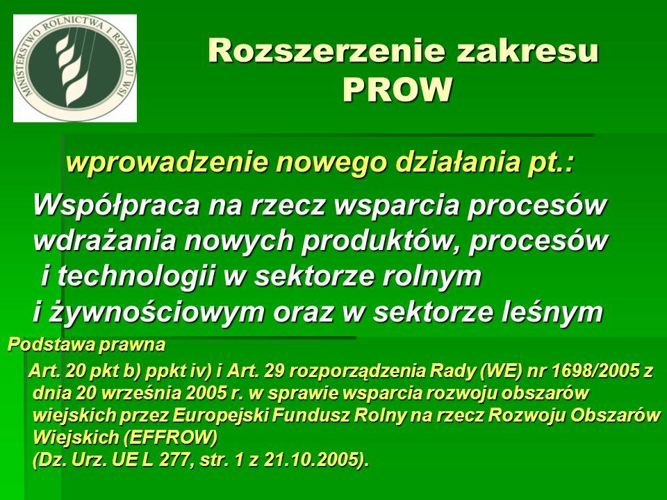 Rozszerzenie zakresu PROW Rozszerzenie zakresu PROW wprowadzenie nowego działania pt.: wprowadzenie nowego działania pt.: Współpraca na rzecz wsparcia