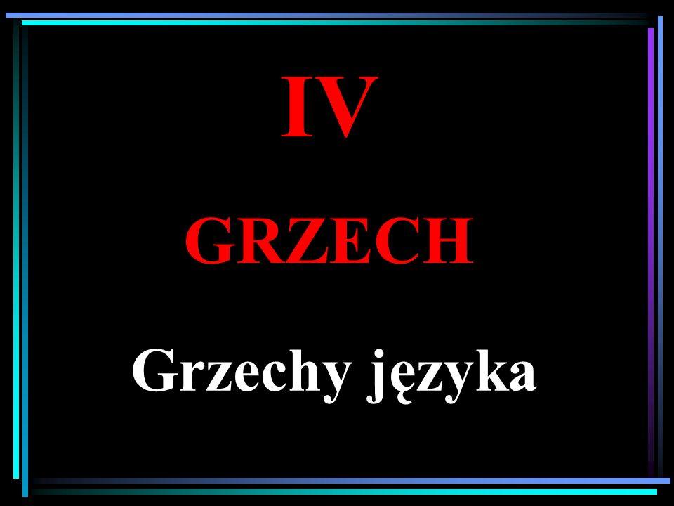 IV GRZECH Grzechy języka