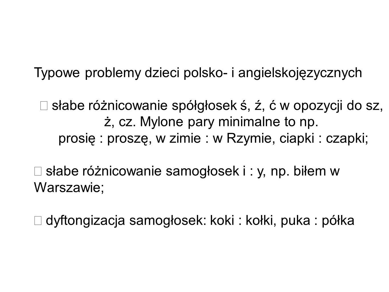 Typowe problemy dzieci polsko- i angielskojęzycznych słabe różnicowanie spółgłosek ś, ź, ć w opozycji do sz, ż, cz. Mylone pary minimalne to np. prosi