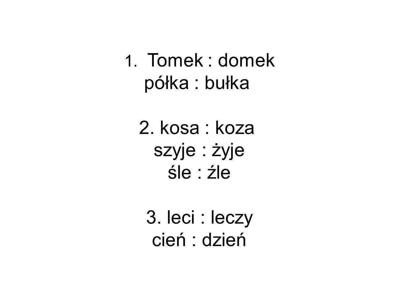 1. Tomek : domek półka : bułka 2. kosa : koza szyje : żyje śle : źle 3. leci : leczy cień : dzień