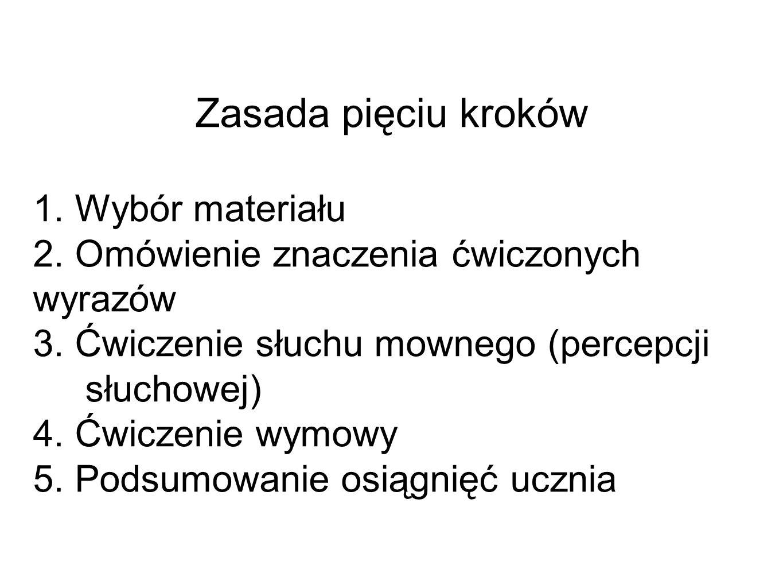 Zasada pięciu kroków 1.Wybór materiału 2. Omówienie znaczenia ćwiczonych wyrazów 3.