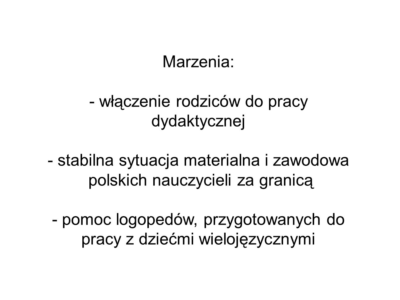 Marzenia: - włączenie rodziców do pracy dydaktycznej - stabilna sytuacja materialna i zawodowa polskich nauczycieli za granicą - pomoc logopedów, przygotowanych do pracy z dziećmi wielojęzycznymi