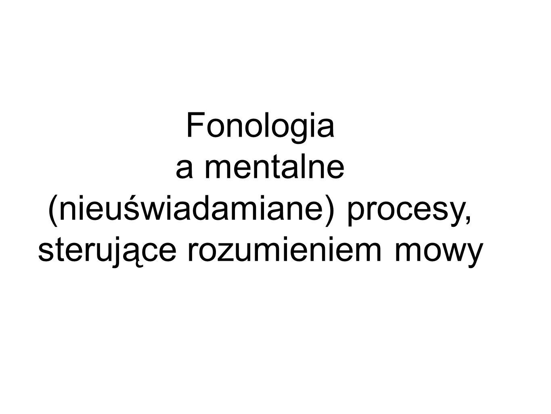 Fonologia a mentalne (nieuświadamiane) procesy, sterujące rozumieniem mowy
