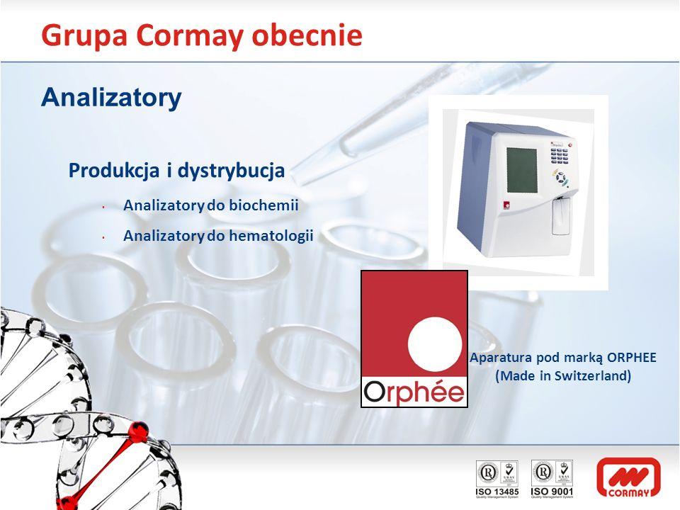 Grupa Cormay obecnie Analizatory Produkcja i dystrybucja Analizatory do biochemii Analizatory do hematologii Aparatura pod marką ORPHEE (Made in Switz