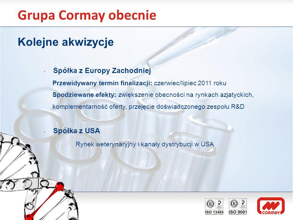 Grupa Cormay obecnie Kolejne akwizycje Spółka z Europy Zachodniej Przewidywany termin finalizacji: czerwiec/lipiec 2011 roku Spodziewane efekty: zwięk