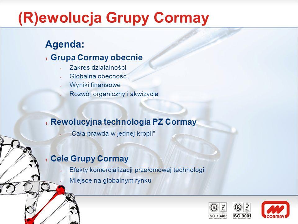 (R)ewolucja Grupy Cormay Agenda: 1. Grupa Cormay obecnie Zakres działalności Globalna obecność Wyniki finansowe Rozwój organiczny i akwizycje 1. Rewol