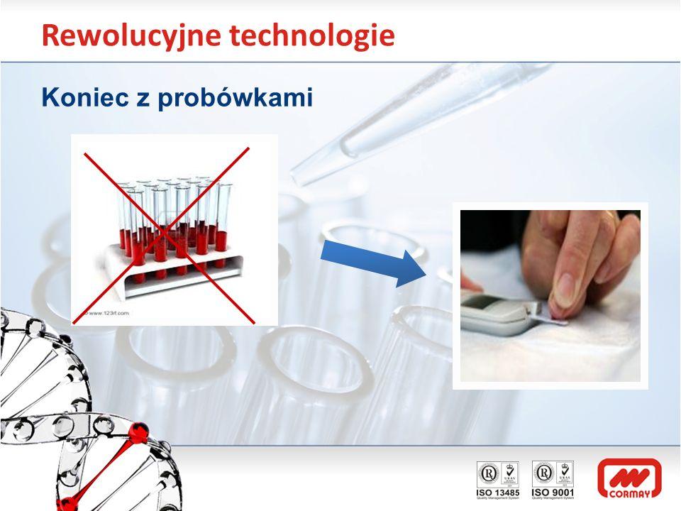 Rewolucyjne technologie Innowacyjna platforma diagnostyczna Platforma technologiczna do badań biochemicznych, immunologicznych i genetycznych Rewolucyjna w dostępności i jakości badań dokładność wyniku, czas wykonania, inwazyjność dla pacjenta, powtarzalność wyników Z jednej kropli krwi 4 tys.