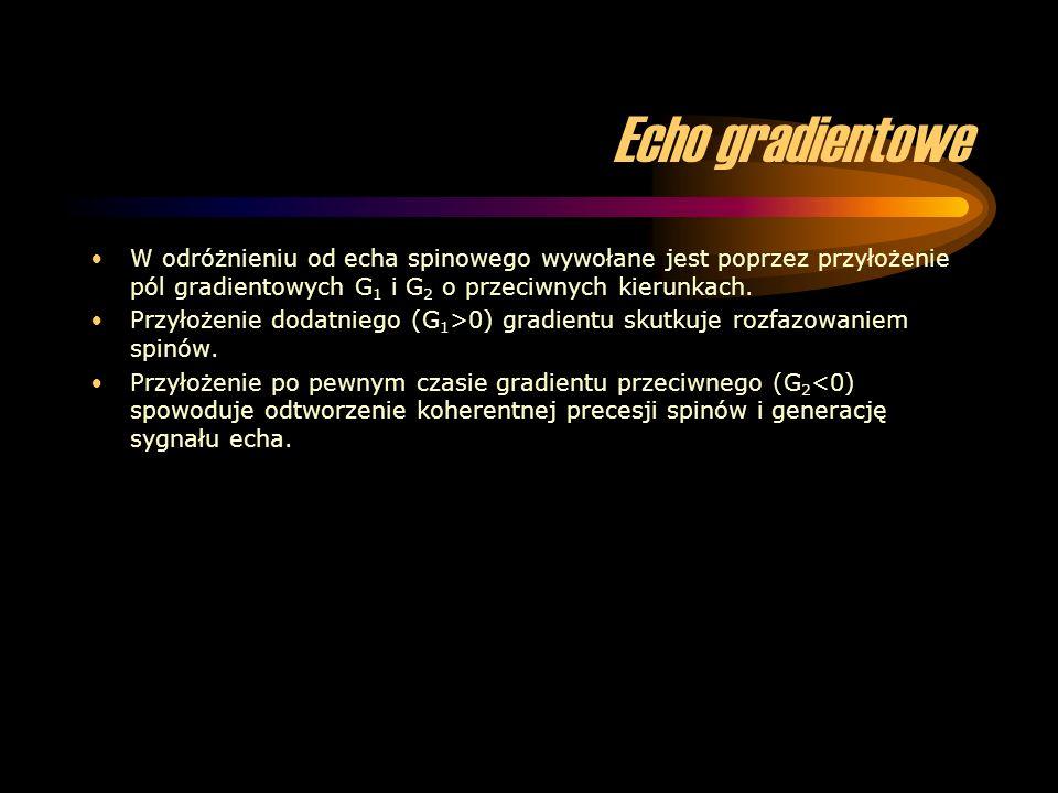 Echo gradientowe W odróżnieniu od echa spinowego wywołane jest poprzez przyłożenie pól gradientowych G 1 i G 2 o przeciwnych kierunkach. Przyłożenie d