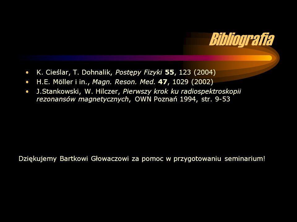 Bibliografia K. Cieślar, T. Dohnalik, Postępy Fizyki 55, 123 (2004) H.E. Möller i in., Magn. Reson. Med. 47, 1029 (2002) J.Stankowski, W. Hilczer, Pie