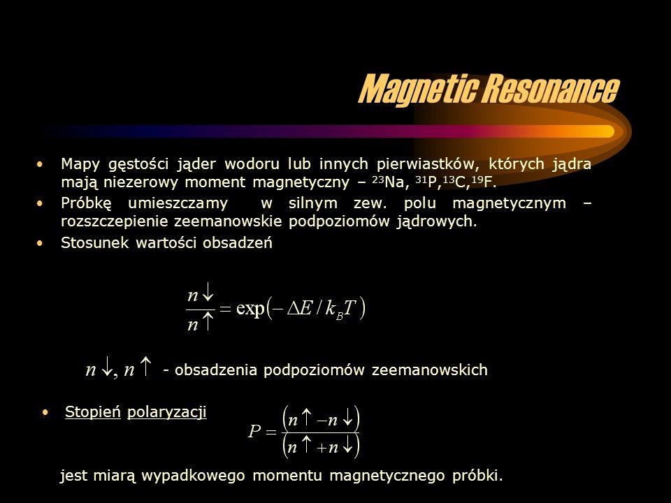 Magnetic Resonance Mapy gęstości jąder wodoru lub innych pierwiastków, których jądra mają niezerowy moment magnetyczny – 23 Na, 31 P, 13 C, 19 F. Prób