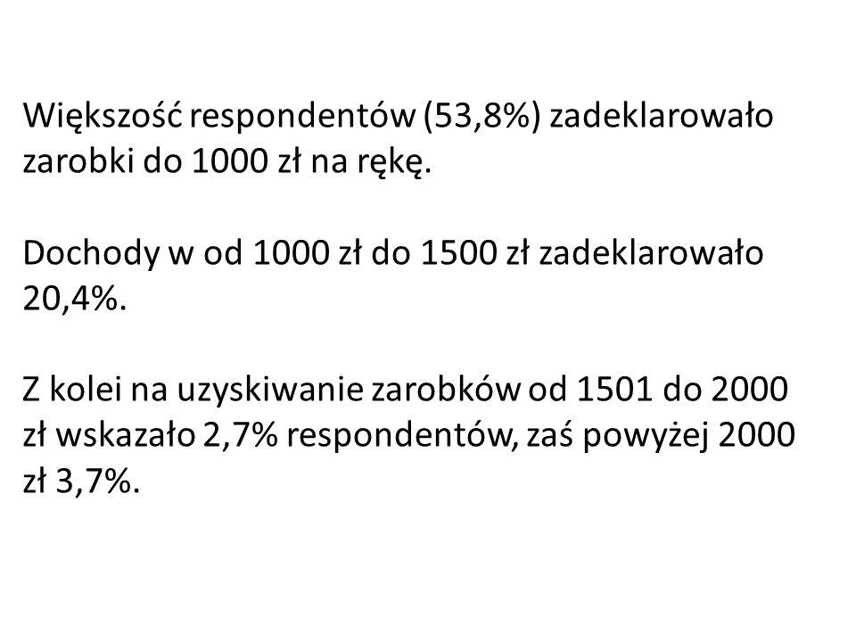 Większość respondentów (53,8%) zadeklarowało zarobki do 1000 zł na rękę. Dochody w od 1000 zł do 1500 zł zadeklarowało 20,4%. Z kolei na uzyskiwanie z