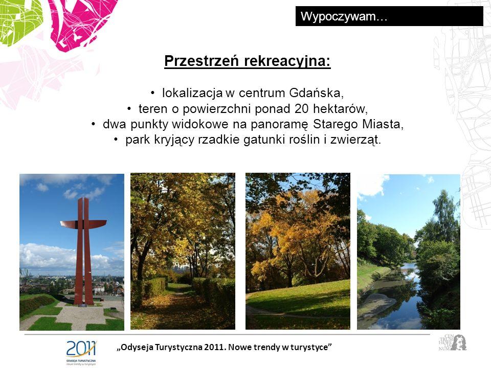Przestrzeń rekreacyjna: lokalizacja w centrum Gdańska, teren o powierzchni ponad 20 hektarów, dwa punkty widokowe na panoramę Starego Miasta, park kryjący rzadkie gatunki roślin i zwierząt.