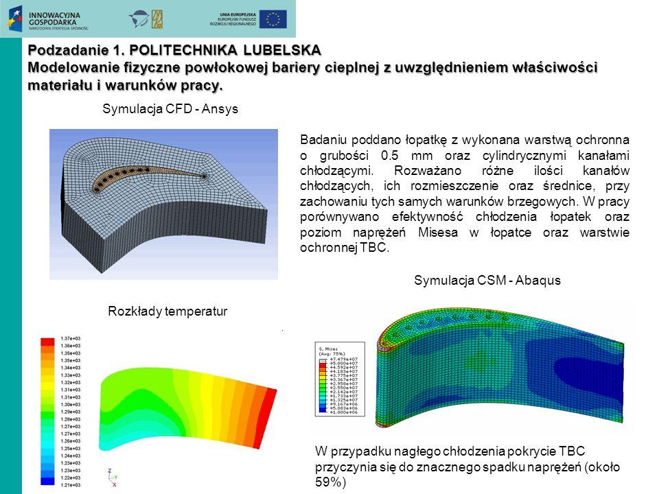 Badaniu poddano łopatkę z wykonana warstwą ochronna o grubości 0.5 mm oraz cylindrycznymi kanałami chłodzącymi. Rozważano różne ilości kanałów chłodzą