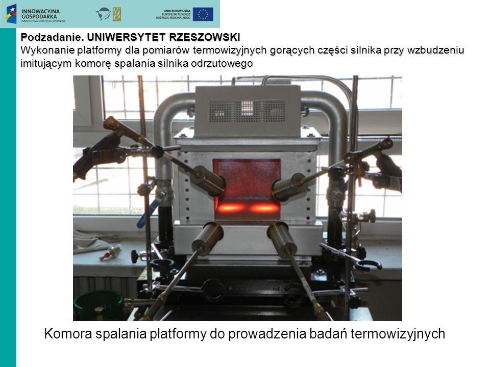 Podzadanie. UNIWERSYTET RZESZOWSKI Wykonanie platformy dla pomiarów termowizyjnych gorących części silnika przy wzbudzeniu imitującym komorę spalania