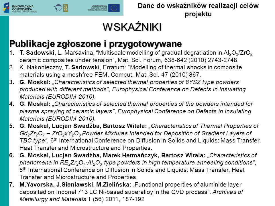 Dane do wskaźników realizacji celów projektuWSKAŹNIKI Publikacje zgłoszone i przygotowywane 1.T. Sadowski, L. Marsavina, Multiscale modelling of gradu
