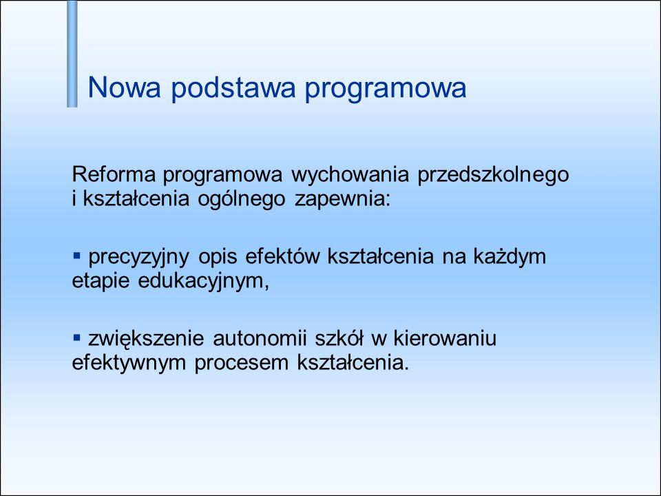 Nowa podstawa programowa Reforma programowa wychowania przedszkolnego i kształcenia ogólnego zapewnia: precyzyjny opis efektów kształcenia na każdym e