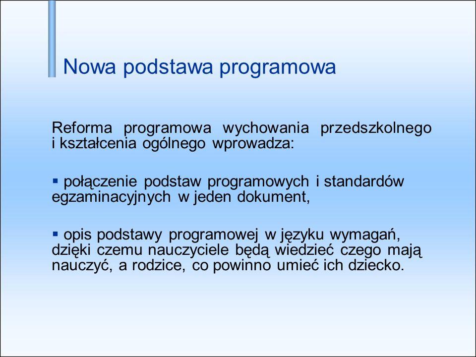 Nowa podstawa programowa Reforma programowa wychowania przedszkolnego i kształcenia ogólnego wprowadza: połączenie podstaw programowych i standardów e