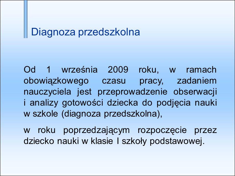 Diagnoza przedszkolna Od 1 września 2009 roku, w ramach obowiązkowego czasu pracy, zadaniem nauczyciela jest przeprowadzenie obserwacji i analizy goto