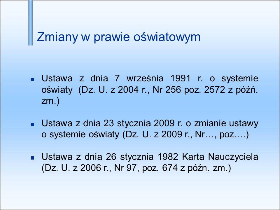 Zmiany w prawie oświatowym Ustawa z dnia 7 września 1991 r. o systemie oświaty (Dz. U. z 2004 r., Nr 256 poz. 2572 z późń. zm.) Ustawa z dnia 23 stycz