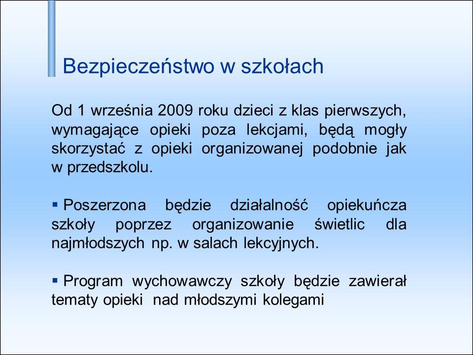 Od 1 września 2009 roku dzieci z klas pierwszych, wymagające opieki poza lekcjami, będą mogły skorzystać z opieki organizowanej podobnie jak w przedsz