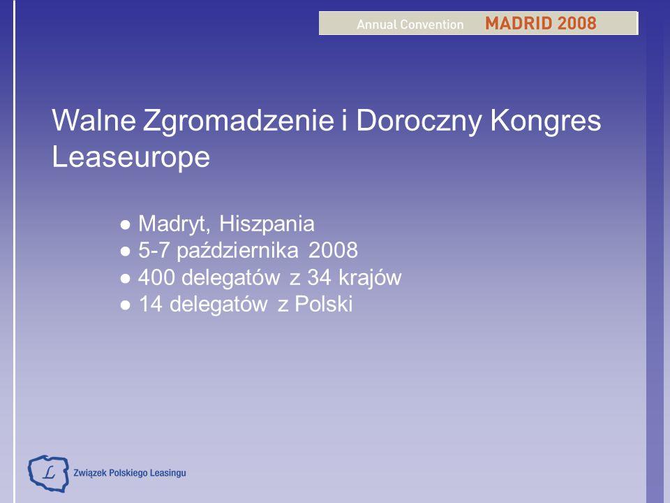 Walne Zgromadzenie i Doroczny Kongres Leaseurope Madryt, Hiszpania 5-7 października 2008 400 delegatów z 34 krajów 14 delegatów z Polski