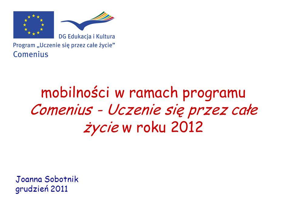 mobilności w ramach programu Comenius - Uczenie się przez całe życie w roku 2012 Joanna Sobotnik grudzień 2011 Joanna Sobotnik grudzień 2011