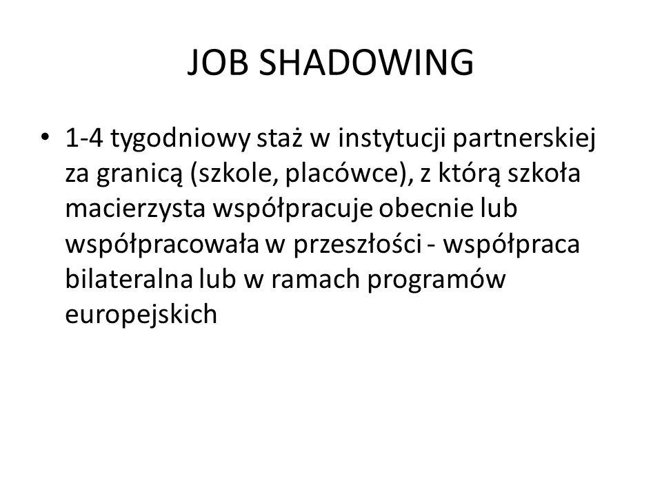 JOB SHADOWING 1-4 tygodniowy staż w instytucji partnerskiej za granicą (szkole, placówce), z którą szkoła macierzysta współpracuje obecnie lub współpr