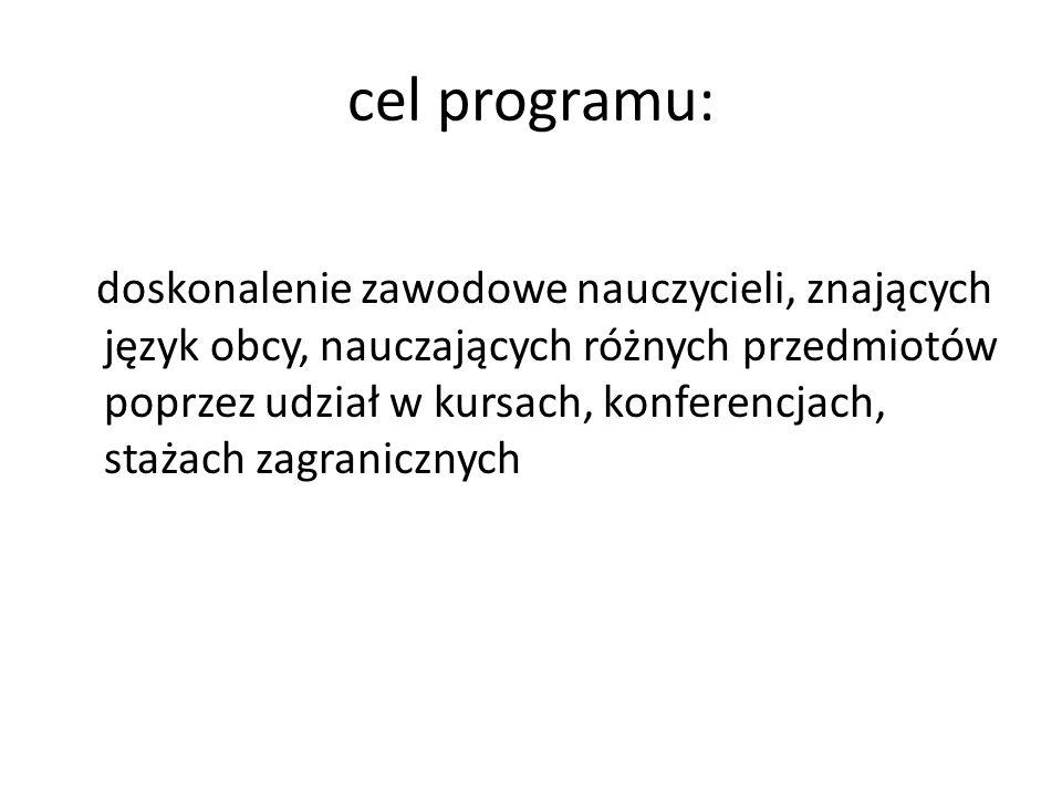 cel programu: doskonalenie zawodowe nauczycieli, znających język obcy, nauczających różnych przedmiotów poprzez udział w kursach, konferencjach, staża