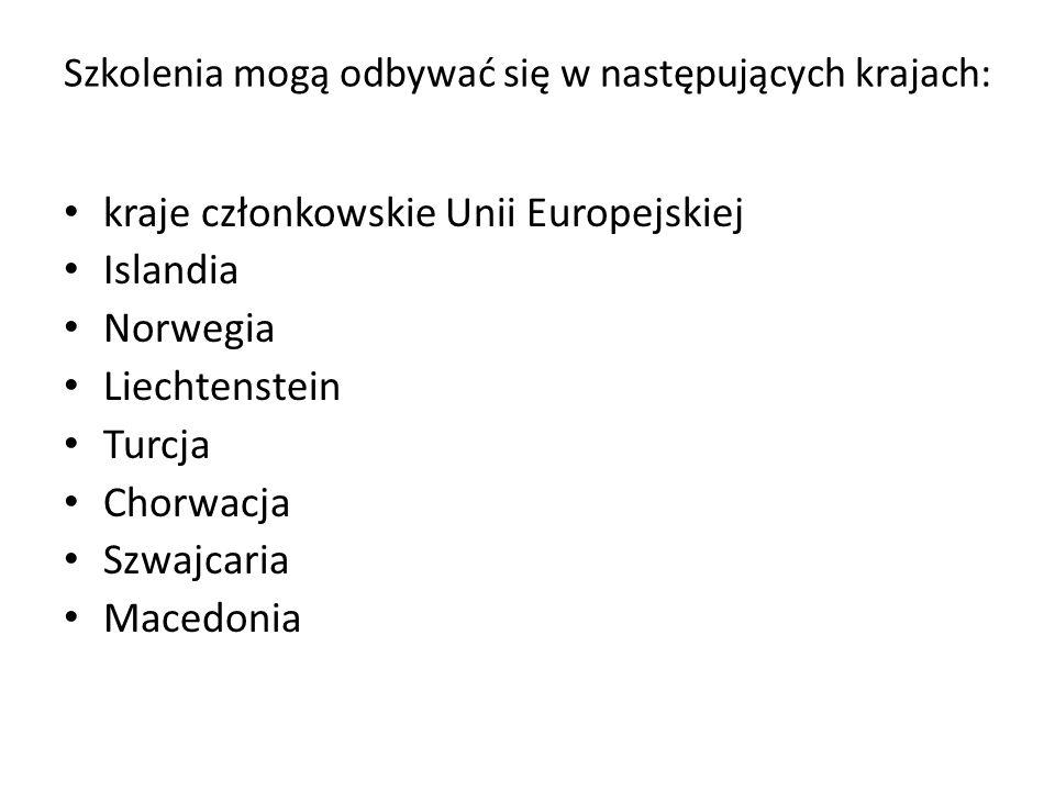 Szkolenia mogą odbywać się w następujących krajach: kraje członkowskie Unii Europejskiej Islandia Norwegia Liechtenstein Turcja Chorwacja Szwajcaria M